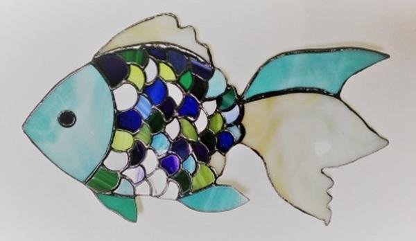 ステンドグラス;「翡翠魚のお皿」