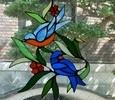 2019.3.20. 窓飾り: 青い鳥   :制作 三井美智子 さん