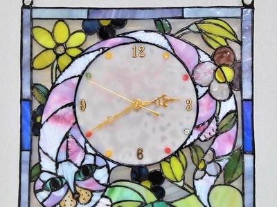 2019.10.16. ステンドグラス・パネル時計「タビーとフローラ」