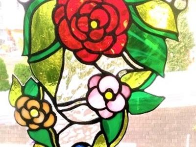 2019.10.27. ステンドグラスの吊り飾り「花園へ続く木漏れ日」  :制作 染谷沙織 さん