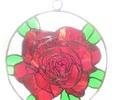 2019.11.1. ステンドグラスの窓飾り「薔薇」  :制作 高橋典子 さん