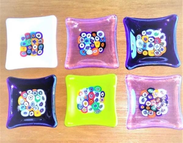ミルフィオリの菓子皿(角皿)