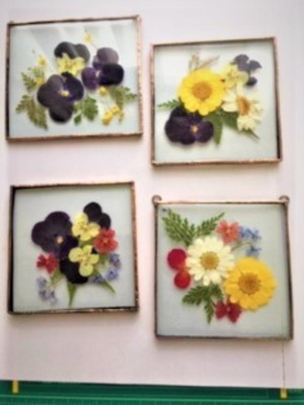 2019.12.14. ステンドグラス:押し花の壁掛  :制作 ミニRabi さんのサムネイル