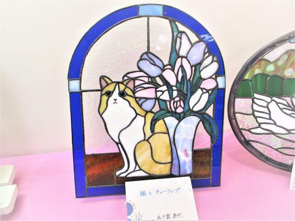 (75)  猫とチューリップ  :制作 五十嵐房代 さんのサムネイル