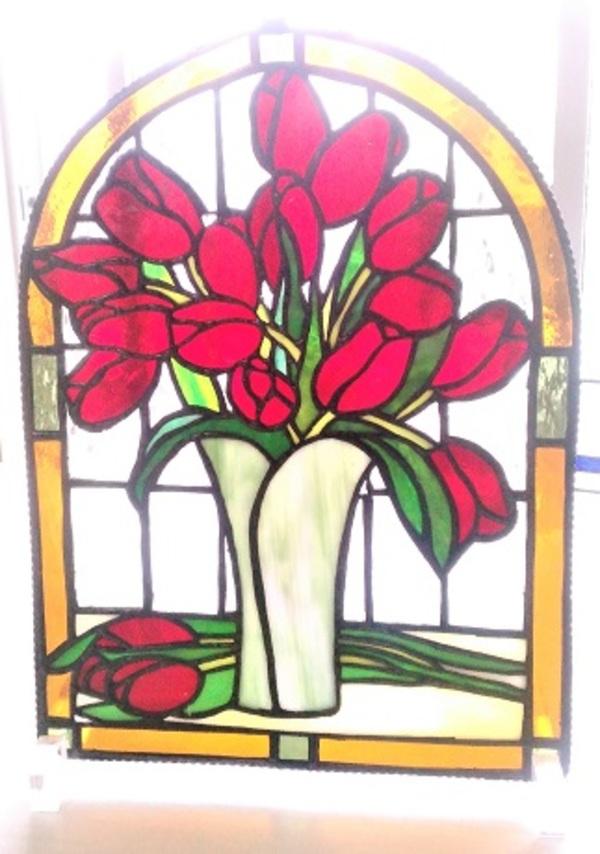 ステンドグラスの飾りパネル