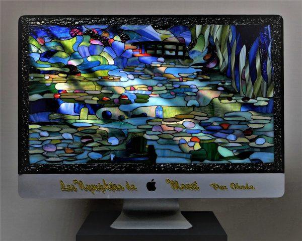モネの絵(睡蓮の池)をステンドグラスで作り 動画に編集しました!