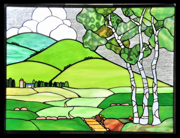 ステンドグラスパネル 「牧場への道」