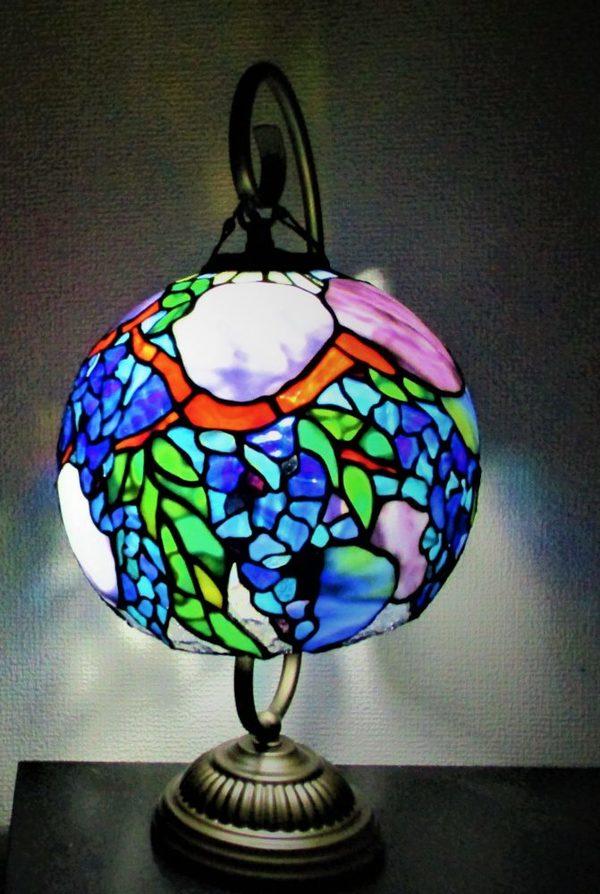 球体吊りランプ「藤と紫陽花」