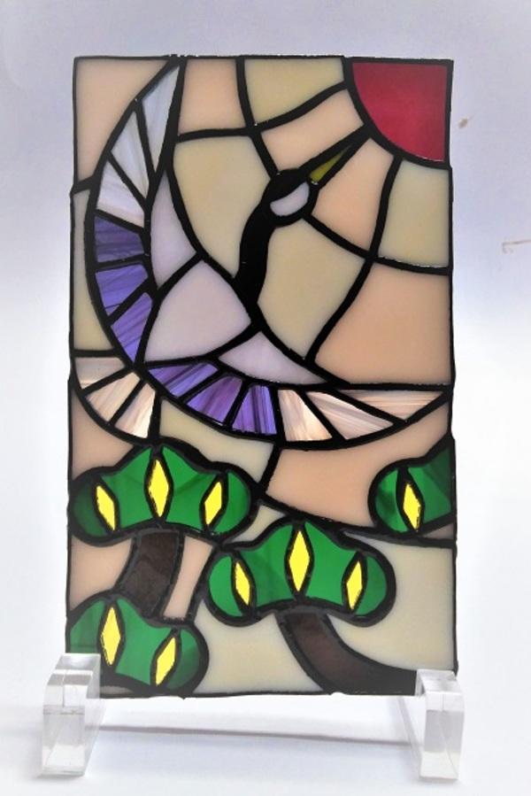 ステンドグラスの花札シリーズ「松に鶴」