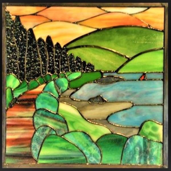 2021.6.28. ステンドグラスパネル「夕焼けの散歩道」  :制作 山下清明 さん のサムネイル